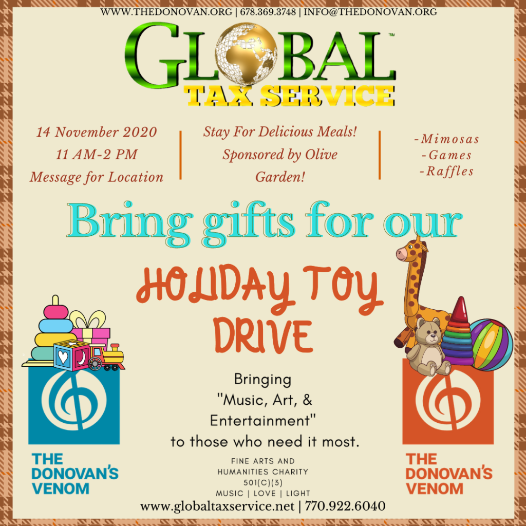 Global Tax Service is sponsoring a holiday Toy Drive. Please come out November 14, 2020 and support us at our Holiday Toy Drive (Party) Sponsored by Global Tax Service. The party will be from 11:00 A.M. until 2:00 P.M. Come, have lunch with us, bring a few toys for the children and Holiday Decorations for our holiday spectacular (December 4, 2020). Bring the Kiddos so we can let them write letters to Santa, and figure out what they would like for Christmas. We are a community and together we can create great change!
